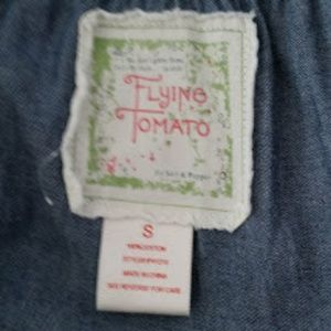 Flying Tomato Dresses - Flying Tomato S Romper Chambray Draw String Waist